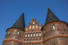 Top of the Holstein gate in Lubeck Royalty Free Stock Photo