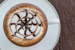 Top of Hot latte coffee in cup Royalty Free Stock Photos