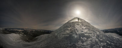 Top of Hoverla at moonrise Royalty Free Stock Photo