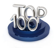 Top hundred icon on white background. 3d rendered image. Top hundred icon on white background. 3d render Stock Photos