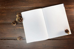 Top image of open notebook with blank pages, next to pine cones. Over wooden table. Flat lay style stock image