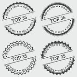 Top 35 insignia stamp isolated on white. Top 35 insignia stamp isolated on white background. Grunge round hipster seal with text, ink texture and splatter and Stock Image