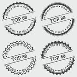 Top 80 insignia stamp isolated on white. Top 80 insignia stamp isolated on white background. Grunge round hipster seal with text, ink texture and splatter and Royalty Free Stock Photo