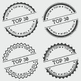 Top 30 insignia stamp isolated on white. Top 30 insignia stamp isolated on white background. Grunge round hipster seal with text, ink texture and splatter and Royalty Free Stock Images