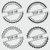 Top 60 insignia stamp isolated on white. Top 60 insignia stamp isolated on white background. Grunge round hipster seal with text, ink texture and splatter and stock illustration