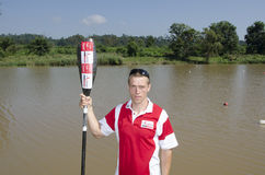 Top international paddler, Michael Odvarko, prepares for the start of The Unlimited Dusi canoe marathon, Pietermaritzburg, KwaZulu Stock Image