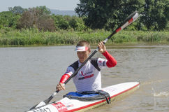 Top international paddler, Michael Odvarko, prepares for the start of The Unlimited Dusi canoe marathon, Pietermaritzburg, KwaZulu Stock Photos