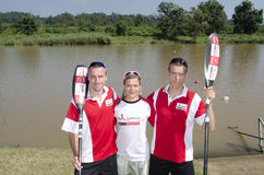 Top international paddlers, Jakub Adam, Anna Adamova and Michael Odvarko prepare for the start of The Unlimited Dusi canoe maratho Royalty Free Stock Photo