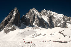 Top of Jade Dragon snow mountain in China. Royalty Free Stock Images