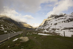 Top of the Julier Pass with roman column Royalty Free Stock Photos