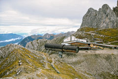 At the top of the Karwendel Mountains. The funicular Stock Photography