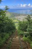 From the top of the Koko Head crater Hike on Oahu, Hawaii stock images