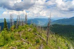 Top of Kokuya Mountain and view on Teletskoye Lake. Altai Republic. Russia Royalty Free Stock Photography