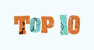 Top 10 Konzept-bunte gestempelte Wort-Illustration Lizenzfreie Stockfotografie