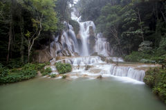 The top of Kouangxi Waterfalls. The view on the top of Kouangxi Waterfall or Tat Kuang Si Waterfalls stock photo