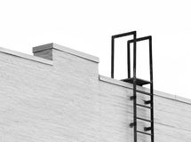 Top of a ladder to roof isolated. Top of a fire escape ladder going to the roof, attached to a white brick wall.  Isolated on white Stock Image