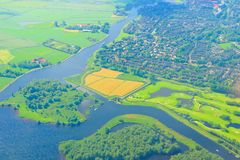 Top view aerial photo of settlements and fields Royalty Free Stock Photography