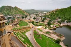 The top landscape view from Amber Fort in Jaipur at the valley with Maota Lake and gardens