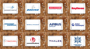 Top largest weapons manufacturing Companies logos and icons Royalty Free Stock Photo