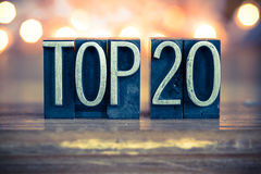 Top 20 Letterpress μετάλλων έννοιας τύπος Στοκ Εικόνες