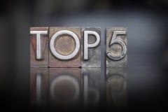 Top 5 Letterpress. The words Top 5 written in vintage letterpress type stock photo