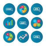 Top-level domains signs. Com, Eu, Net and Org. Stock Photo