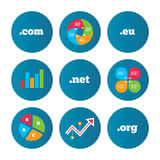 Top-level domains signs. Com, Eu, Net and Org. Royalty Free Stock Photography
