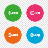 Top-level domains signs. Com, Eu, Net and Org. Stock Image