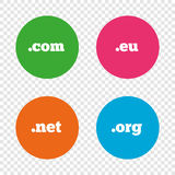Top-level domains signs. Com, Eu, Net and Org. Royalty Free Stock Image