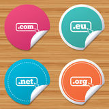 Top-level domains signs. Com, Eu, Net and Org. Stock Photos