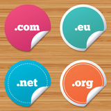 Top-level domains signs. Com, Eu, Net and Org. Stock Images