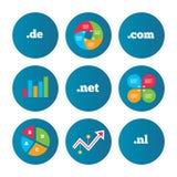 Top-level domains signs. De, Com, Net and Nl. Stock Photos