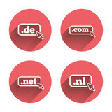 Top-level domains signs. De, Com, Net and Nl Royalty Free Stock Image