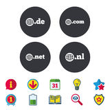 Top-level domains signs. De, Com, Net and Nl. Stock Image