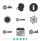 Top-level domains signs. De, Com, Net and Nl. Royalty Free Stock Photos