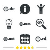 Top-level domains signs. De, Com, Net and Nl. Royalty Free Stock Image