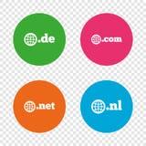 Top-level domains signs. De, Com, Net and Nl. Stock Images