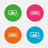 Top-level domains signs. De, Com, Net and Nl. Royalty Free Stock Photo