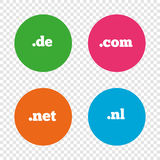 Top-level domains signs. De, Com, Net and Nl. Stock Photography