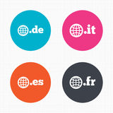 Top-level domains signs. De, It, Es and Fr Royalty Free Stock Images