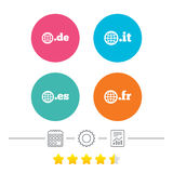 Top-level domains signs. De, It, Es and Fr. Royalty Free Stock Image