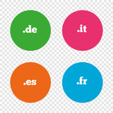 Top-level domains signs. De, It, Es and Fr. Royalty Free Stock Photo