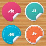Top-level domains signs. De, It, Es and Fr. Royalty Free Stock Images