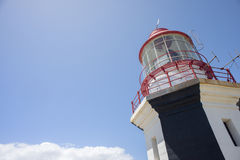 Top of Lighthouse in Blue Sky. A view of the top of a lighthouse set against a blue sky Stock Photography