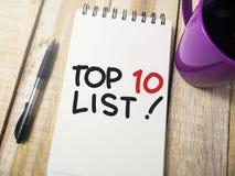 Top 10 Lijst, het Motievenconcept van Woordencitaten royalty-vrije stock fotografie
