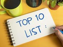 Top 10 Lijst, het Motievenconcept van Woordencitaten stock foto