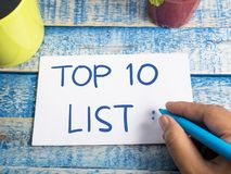 Top 10 Lijst, het Motievenconcept van Woordencitaten stock foto's