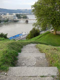 On the Top of Linz. View from the Linzer Homehill called Schlossberg Royalty Free Stock Image