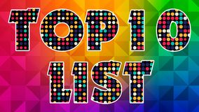 Top 10 List 005 - Ready Graphic. Colorful Text with Colorful Background stock illustration