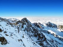 On top of Lomnicky peak, High Tatras, Slovakia. stock photos